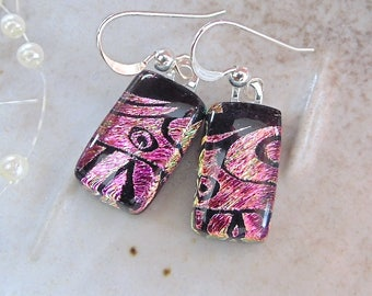 Pink Earrings, Black, Petite, Dichroic Glass Earrings, Glass Jewelry, Dangle, Sterling Silver, A7