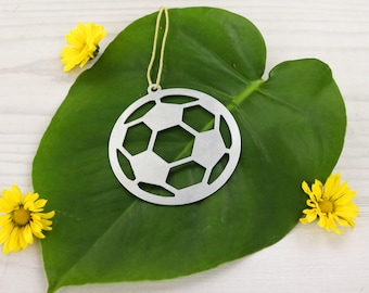 Soccer Ball Metal Ornament Sports Soccer Player Team Gift for Her Him Custom Champions Coach Engraving  Stamping Summer Home Decor