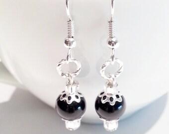 Dangle Earrings Black Swarovski Crystal Pearl
