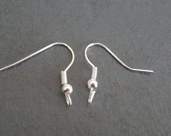 50 pairs silver ear hooks 18 x 21 mm, support hooks earrings