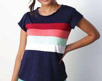 yoga shirt, rainbow shirt, rainbow top, rainbow tshirt, navy tshirt, striped tshirt, yoga tshirt, modal tshirt, eco-friendly tshirt