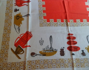 """Vintage Mid Century Simtex Koffee Klatch Tablecloth 47 x 54"""" Textured Polyester~Kitsch For Your Kitchen!"""