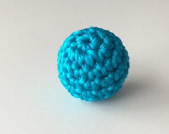 Perle BOIS tone Turquoise 2 cm hook