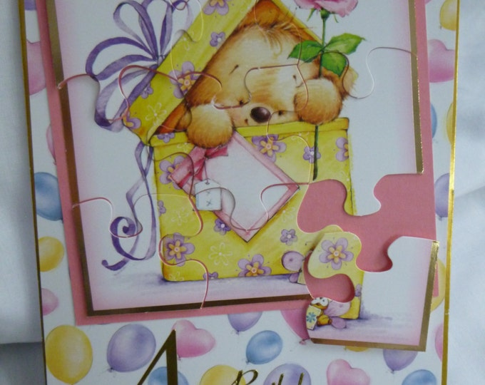 Pink Teddy PuzzleCard, Birthday Card, Greeting Card, 4 Year Old,  Puzzle Card, Colourful Balloons, Little Girl, Daughter, Sister, Niece,