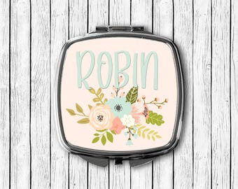 Personalized Compact Mirror - Blue and Pink Floral Design