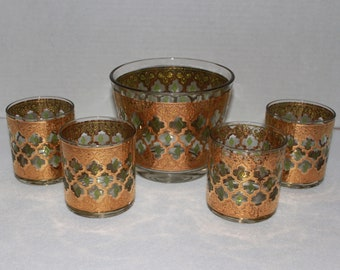 Set of 4 Vintage Culver Valencia Old Fashioned Glasses and Ice Bucket Gold Green