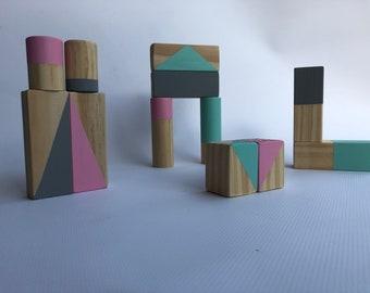 12 Piece Wooden Children's Blocks