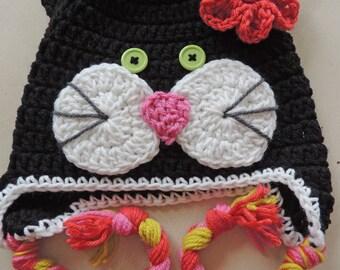 Black Cat Hat, Kids Hat, Animal Hat, Kitty Hat, Girl Hat, Crochet Hat, Baby Hat, Toddler Hat, Child Hat, Children Hats