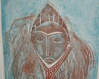 "Vintage Signed West Africa ""Dogon"" Tribe Monoprint ~  Monoprint of Egyptian decent, Mali, West Africa Dogon Tribe Member, Ceremonial Mask"