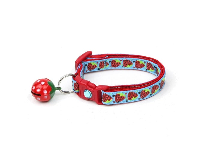 Strawberry Cat Collar - Strawberries on Blue - Small Cat / Kitten Size or Large Size