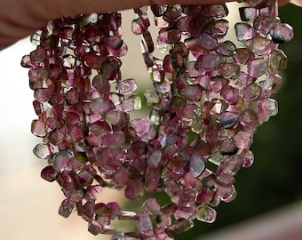 """Transparent Pink Green Watermelon Tourmaline Smooth Slice Petal Briolette Drop Beads 3"""" strand or full length NECKLACE October birthstone"""