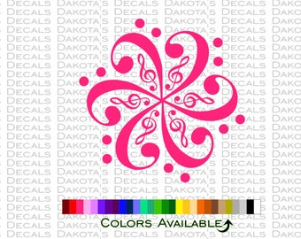 Treble and Bass Clef Swirl Decal