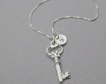 Personalized Sterling Silver Key Necklace, Custom Initial Key Necklace, Sterling Silver Necklace, Key Necklace, Girlfriend Gift,Gift for Her