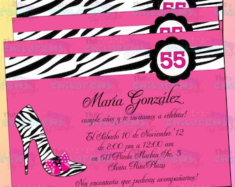 Pink and Zebra Party Invitation