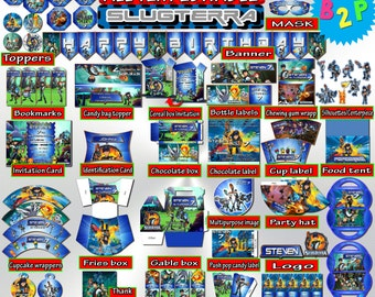 Slugterra Birthday Kit, Editable Birthday Decoration Set, Slugterra Birthday Package Printable, Invitation, Toppers - Instant Download