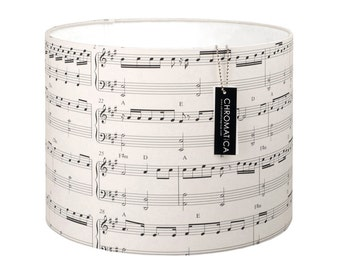 Lamp Shade - Music and Light. Black and White, music sheet, musical notes.