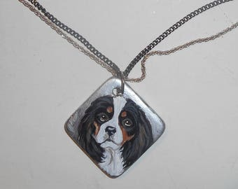 King Charles Cavalier Spaniel Dog Necklace Hand Painted Ceramic Pendant OOAK
