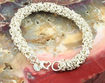 Bracelet Sterling Silver Chainmaille Turkish Round Weave