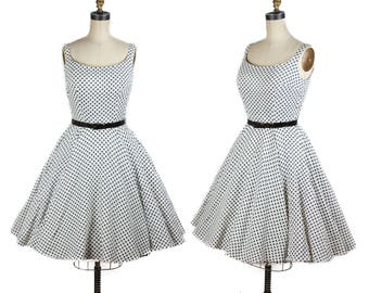 1950s Dress // Houndstooth Print Black and White Sundress with Full Circle Skirt