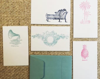 The Coterie Vintage Letterpress Gift Tag Cards Settee Gramaphone Pink Pineapple and Wreath and Bow with Pill Envelope Set of 5