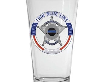Thin Blue Line Family Support 5 Point Star Pint Glass SKU: GW547