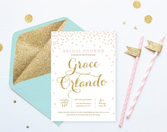 Pink and Gold Bridal Shower Invitation Personalized Printable . Instant Download . Pink and Gold . Bridal Shower Invitations Download