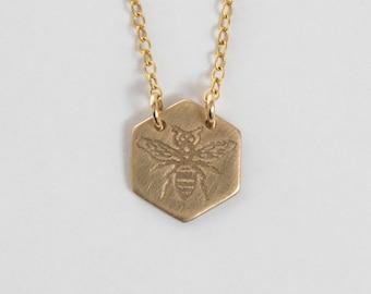 Bee Necklace - Hexagon Necklace - 10k Gold Necklace - Gold Bee Necklace - Honeybee Jewelry - Bee Charm - Delicate Necklace - Honeybee