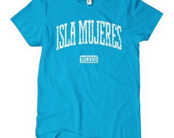 Women's Isla Mujeres Mexico T-shirt - S M L XL 2x - Ladies' Mexican Tee, Cancun, Vacation, Gift - 4 Colors