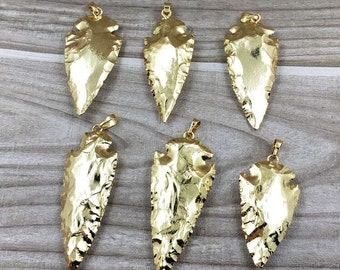Full Gold Plated Arrowheads Arrow Head Pendant Charm - Wholesale price of 1, 3, 5, 10 (S8_B47)