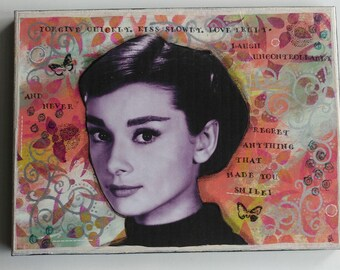 Clearance Last Call Audrey Hepburn 9 x 12 mixed media piece Audrey Hepburn Art Classic Holly Wood Classic Audrey Sabrina