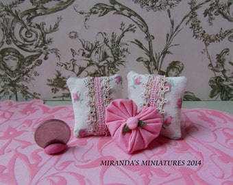 Dollhouse Miniature Pink ROSE cottage chic pillow set