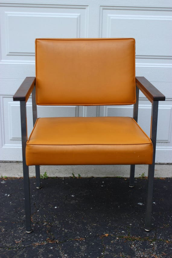 Vintage Mid Century Modern Orange Vinyl Chair Chrome Legs Wood
