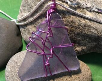 Sea Glass Purple Wrap Necklace