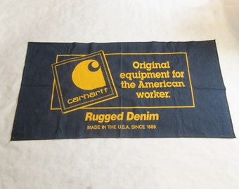 Carhartt Denim Advertising Banner 1990s  Rugged Made in U.S.A. Iconic