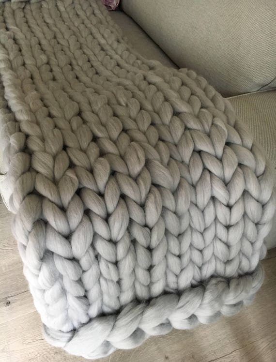 Hand Knit Blanket Large Cable Knitted Throw Chunky Throw Bed