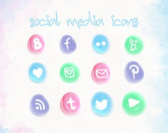 hand painted unique social media icons, social media buttons social icons pink, purple, green, blue, blog buttons, web design, web icons 003