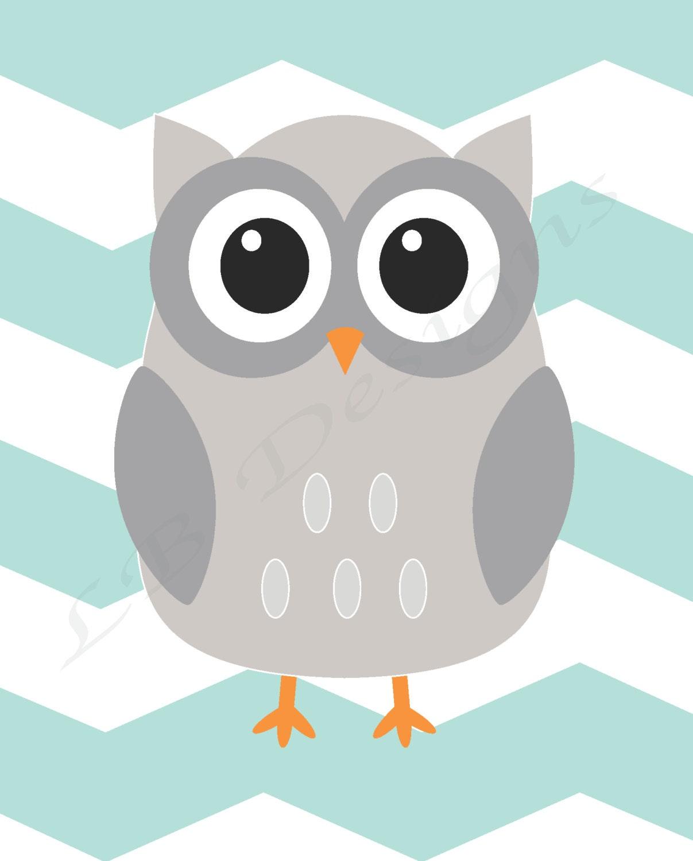 Gender Neutral Owl Nursery Decor Woodland Nursery Print Aqua