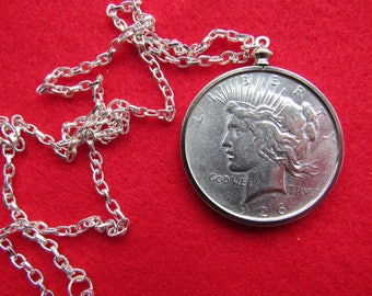 Coin Bezel Handcrafted 1926 Peace Dollar Coin Bezel Pendant Jewelry Findings Pendant Charm Coin Holder - Coin  Bezel