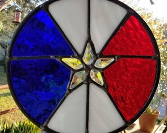 Red, White and Blue with clear beveled star center stained glass Texas Star.