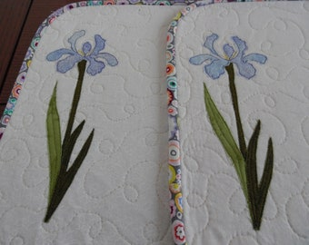 Placements, Irises placemats, flowered placements,spring placemats, Easter placemats, Mother's day placemats, set of 2 placemats