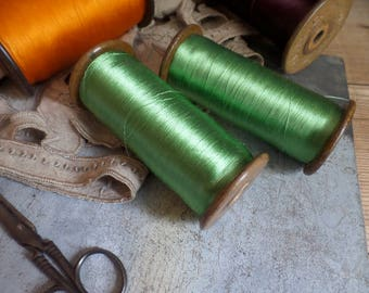 Old FRENCH wooden bobbin spool with green silk thread from Lyon weaving industry