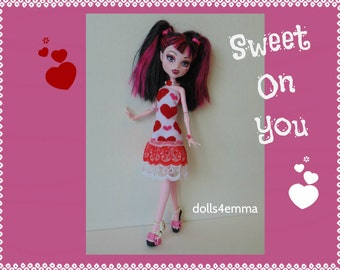 OOAK Monster High Doll Clothes - Hearts DRESS & Jewelry Set - Handmade by dolls4emma