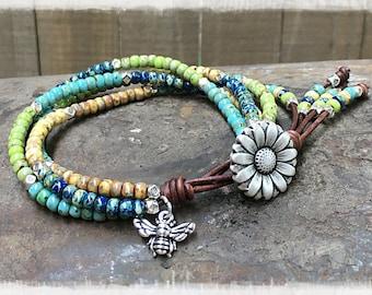 BEE/ Seed Bead Beaded Wrap Bracelet/ Mother's Day Gift Ideas/ Seed Beaded Leather Wrap Bracelet/ Boho Bracelet/  Bohemian Leather Bracelet.