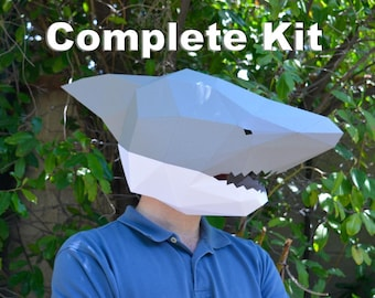 Shark Mask Kit - Paper Craft Kit Comes with Almost Everything You Need! | Paper Mask | DIY Mask | Halloween Mask
