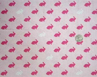 Riley Blake  - Wonderland - C5182 Pink - Small Pink and White Bunny Silhouettes - One Yard of Fabric