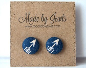 Blue and White Arrow Handmade Fabric Covered Hypoallergenic Button Post Stud Earrings 10mm