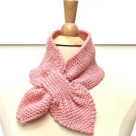 Light pink knit scarf hand knit keyhole scarf pink knit