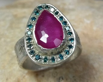 Ruby and Diamond Statement Ring, multi stone Ring, Rose cut Ruby and blue diamond halo  ring, July Birthstone ring