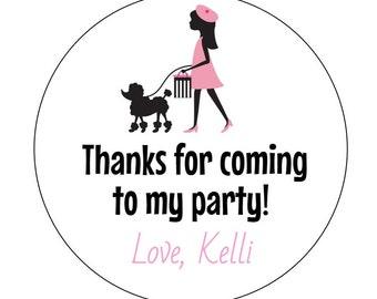 12 Paris Girl Stickers, Paris Birthday, Tea Time, French Theme, Going Away Party, Poodle Birthday,  Paris Party, Paris Baby Shower, Poodle