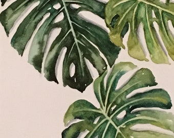 Mostera leaves tropical Botanical original Watercolor Painting